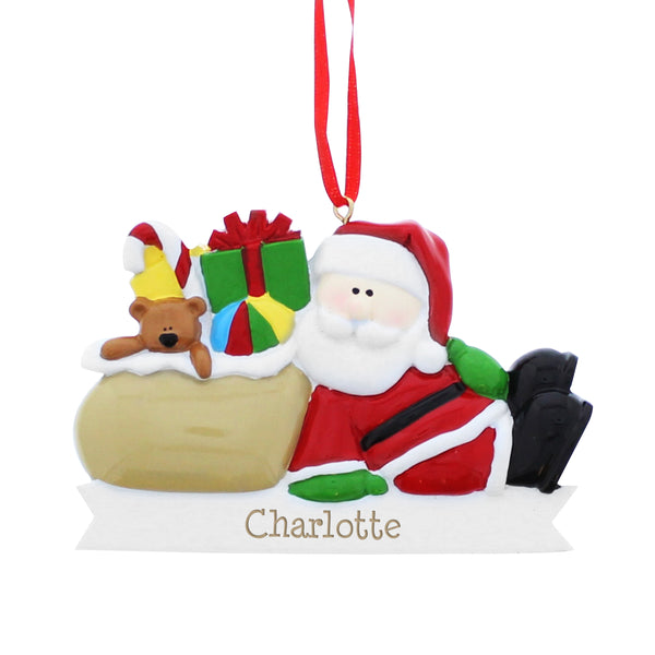 Personalised Santa Claus Resin Decoration white background