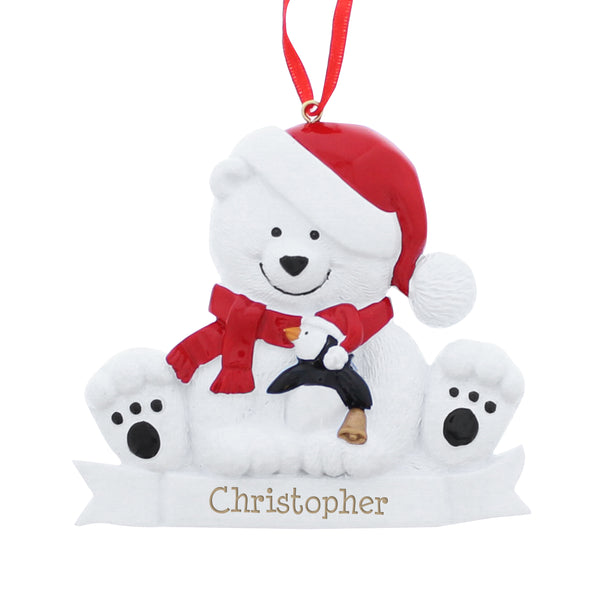 Personalised Polar Bear Resin Decoration white background