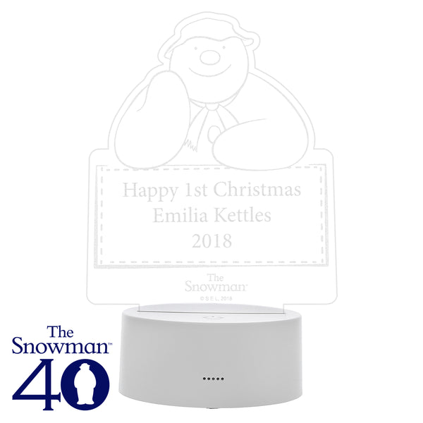 Personalised The Snowman LED Colour Changing Decoration & Night Light white background