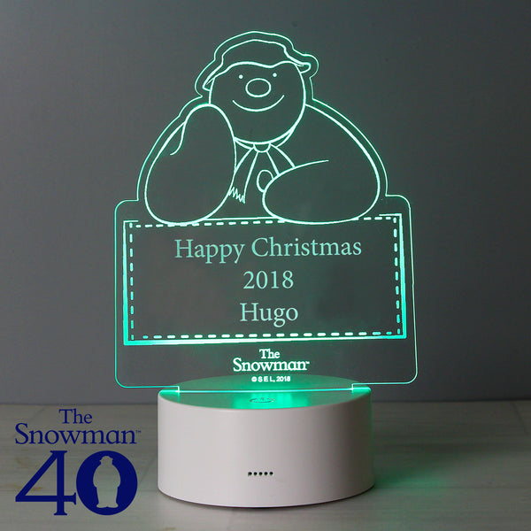 Personalised The Snowman LED Colour Changing Decoration & Night Light with personalised name