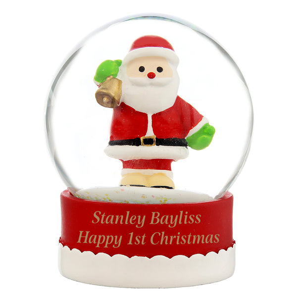 Personalised Santa Snow Globe white background