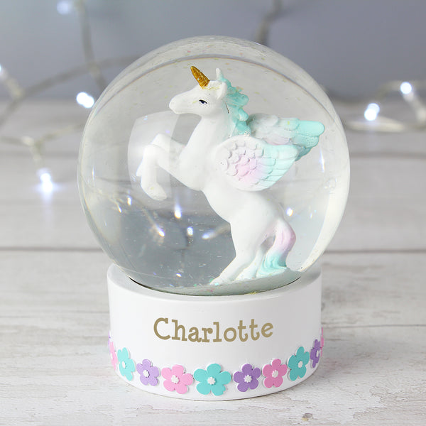 Personalised Unicorn Name Snow Globe from Sassy Bloom Gifts - alternative view
