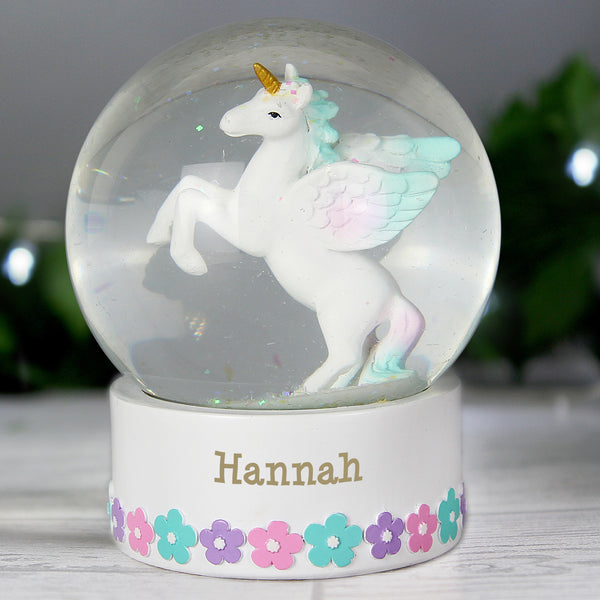 Personalised Unicorn Name Snow Globe with personalised name