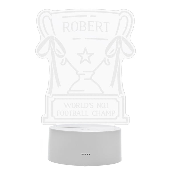 Personalised Trophy LED Colour Changing Night Light white background
