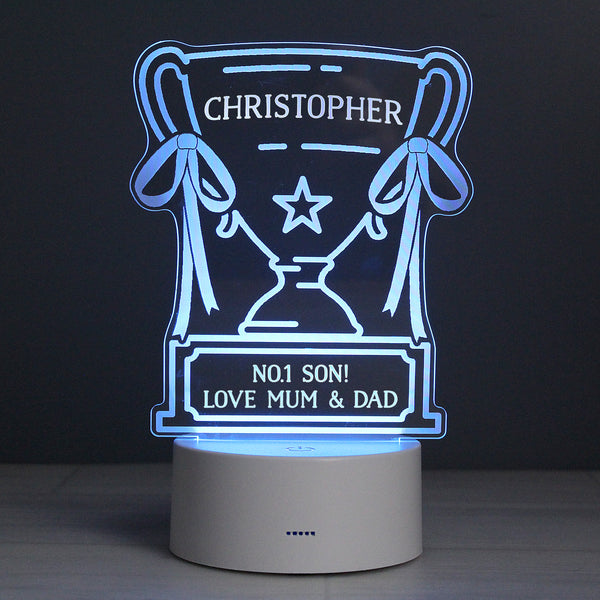 Personalised Trophy LED Colour Changing Night Light lifestyle image