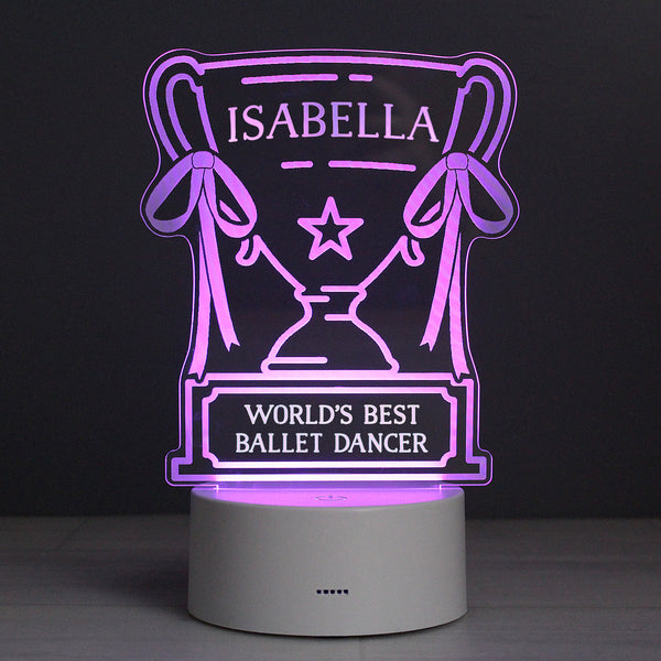 Personalised Trophy LED Colour Changing Night Light with personalised name