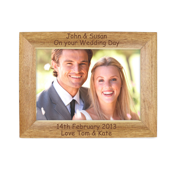 Personalised 5x7 Landscape Wooden Photo Frame