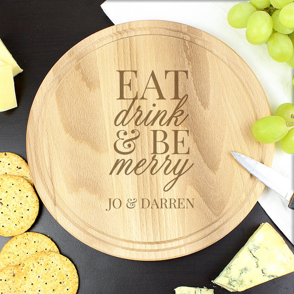 Personalised Eat Drink & Be Merry Round Chopping Board lifestyle image