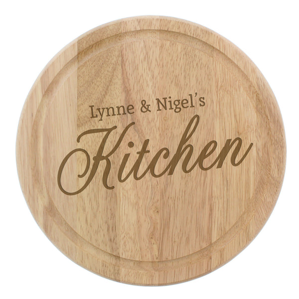 Personalised Kitchen Round Chopping Board white background