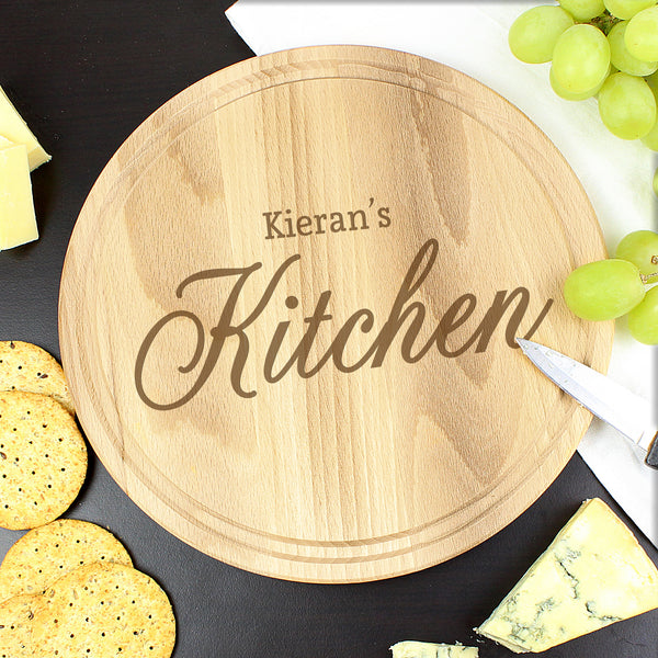Personalised Kitchen Round Chopping Board lifestyle image