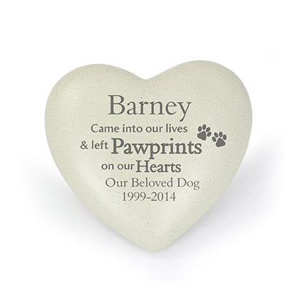 Personalised Pet Pawprints Heart Memorial white background