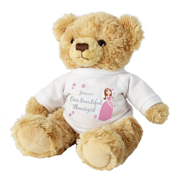 Personalised Fabulous Flower Girl Message Bear white background