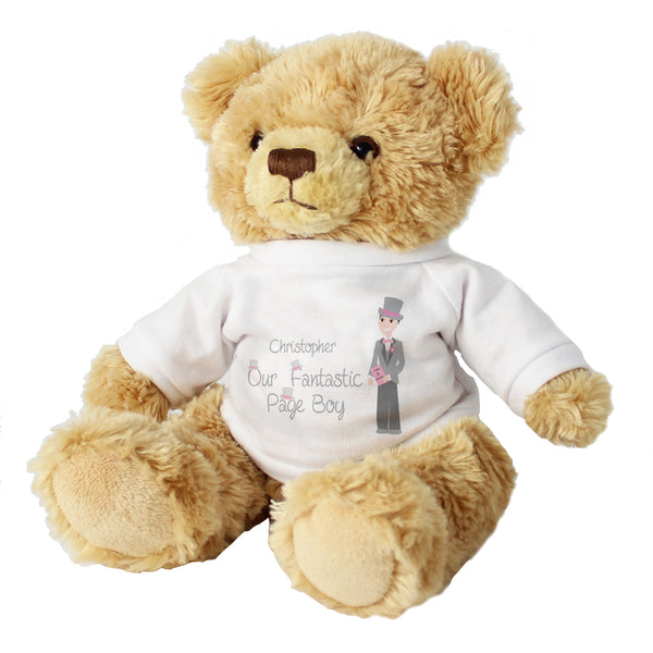 Personalised Fabulous Page Boy Message Bear white background