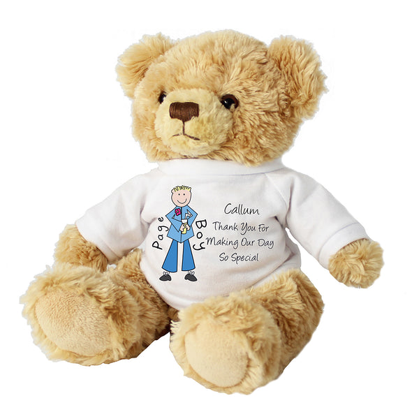 Personalised Cartoon Pageboy Message Bear white background