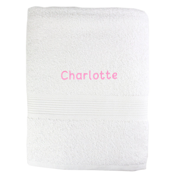 Personalised White Bath Towel - Pink white background