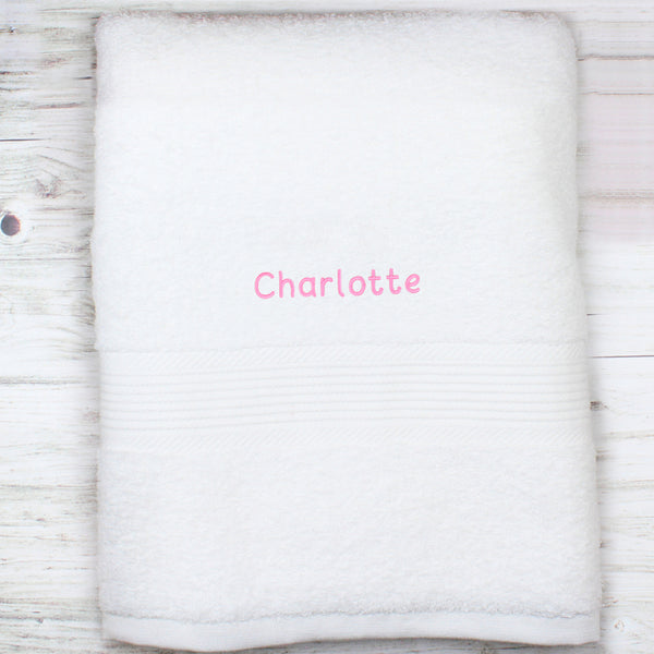 Personalised White Bath Towel - Pink from Sassy Bloom Gifts - alternative view