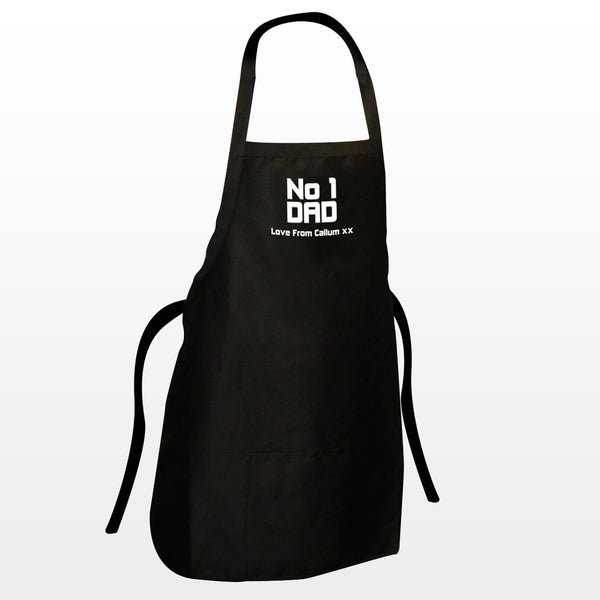 Personalised No1 Dad Apron white background
