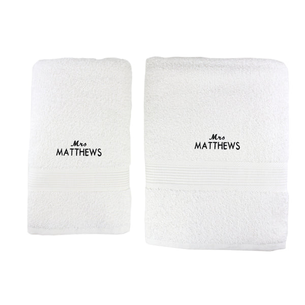 Personalised 'Mrs' White Hand and Bath Towel Set white background