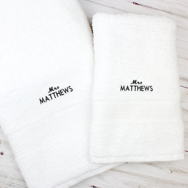 Personalised 'Mrs' White Hand and Bath Towel Set from Sassy Bloom Gifts - alternative view