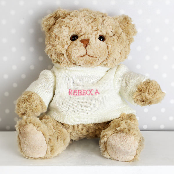 Personalised Pink Name Only Teddy Bear white background