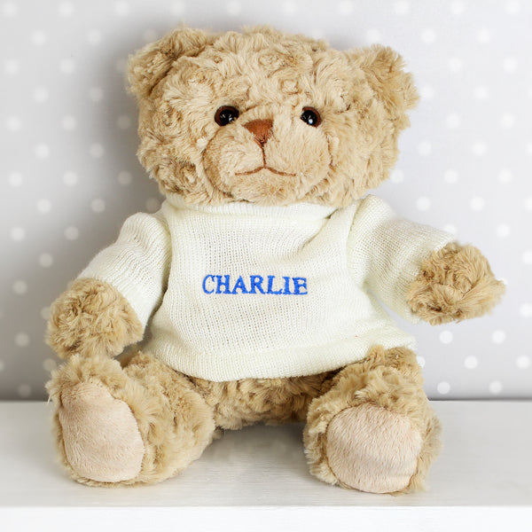 Personalised Blue Name Only Teddy Bear white background