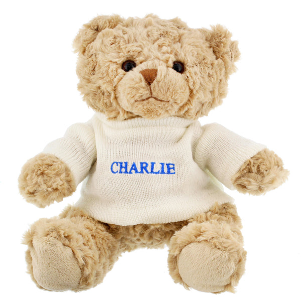 Personalised Blue Name Only Teddy Bear from Sassy Bloom Gifts - alternative view