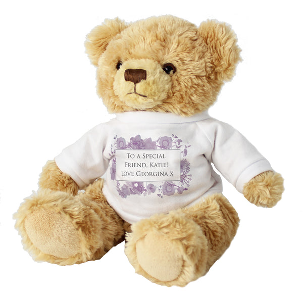 Personalised Soft Watercolour Teddy white background