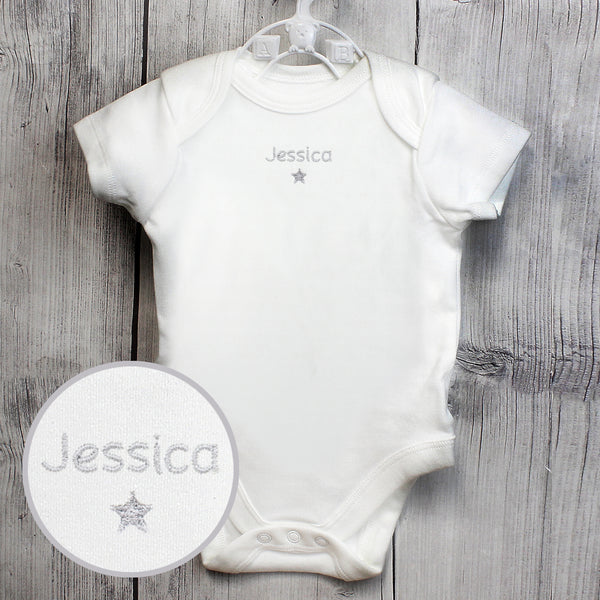 Personalised Silver Star 3-6 Months Baby Vest lifestyle image