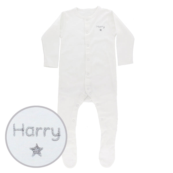 Personalised Silver Star 3-6 Months Babygrow white background