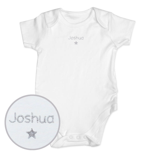 Personalised Silver Star 6-9 Months Baby Vest white background