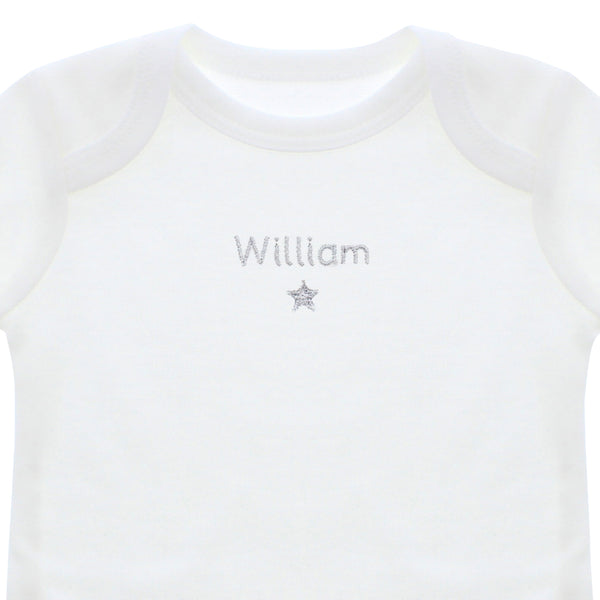 Personalised Silver Star 3-6 Months Long Sleeved Baby Vest lifestyle image