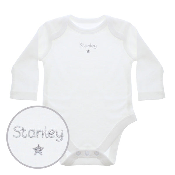 Personalised Silver Star 12-18 Months Long Sleeved Baby Vest white background