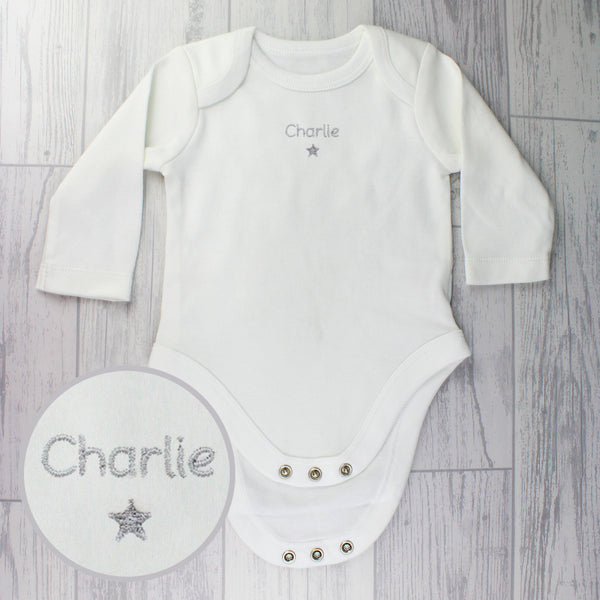 Personalised Silver Star 12-18 Months Long Sleeved Baby Vest