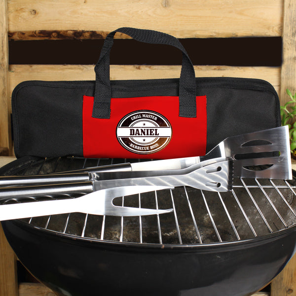 Personalised Stamp Stainless Steel BBQ Kit with personalised name