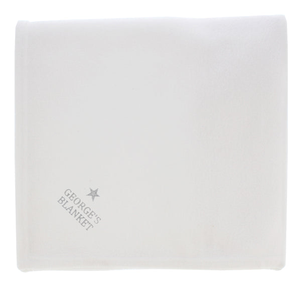 Personalised Silver Star White Baby Blanket white background