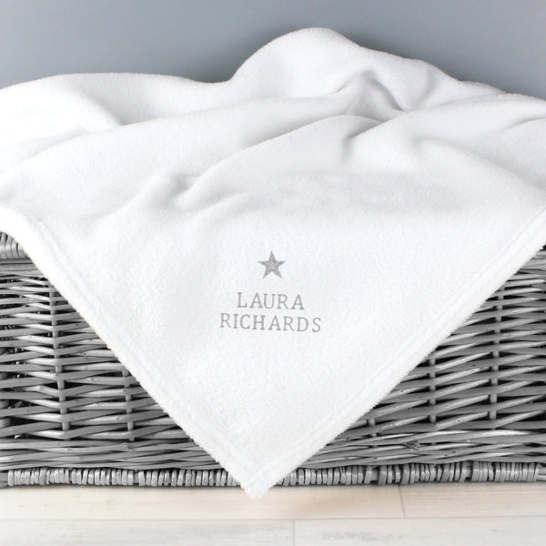 Personalised Silver Star White Baby Blanket from Sassy Bloom Gifts - alternative view