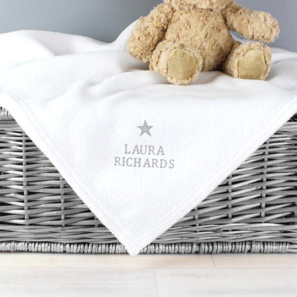 Personalised Silver Star White Baby Blanket with personalised name