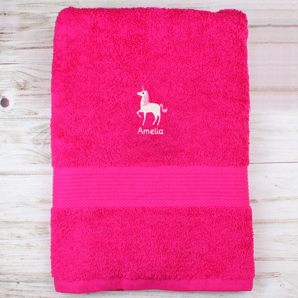 Personalised Unicorn Bright Pink Bath Towel from Sassy Bloom Gifts - alternative view