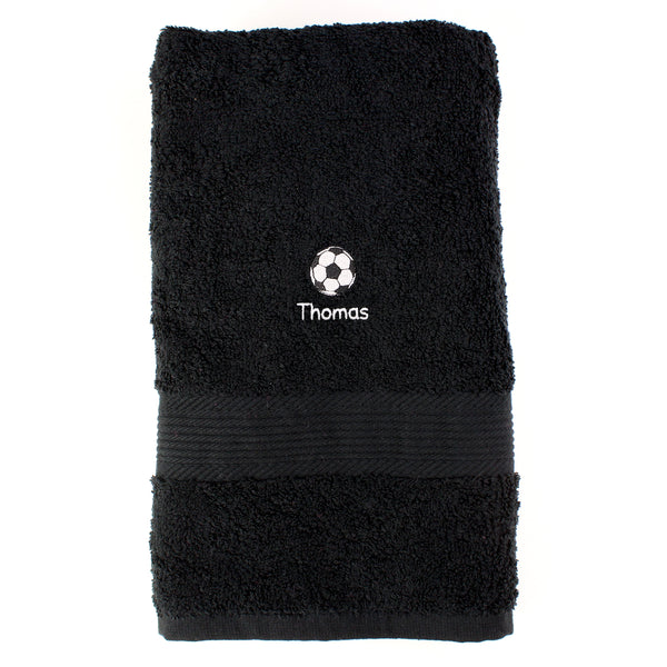 Personalised Football Black Hand Towel white background