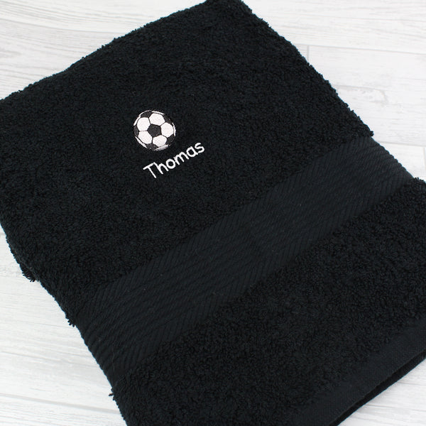Personalised Football Black Hand Towel from Sassy Bloom Gifts - alternative view