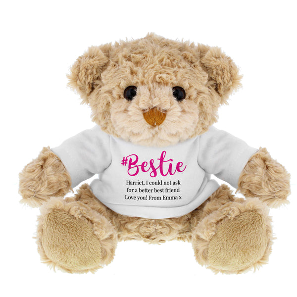 Personalised #Bestie Teddy white background