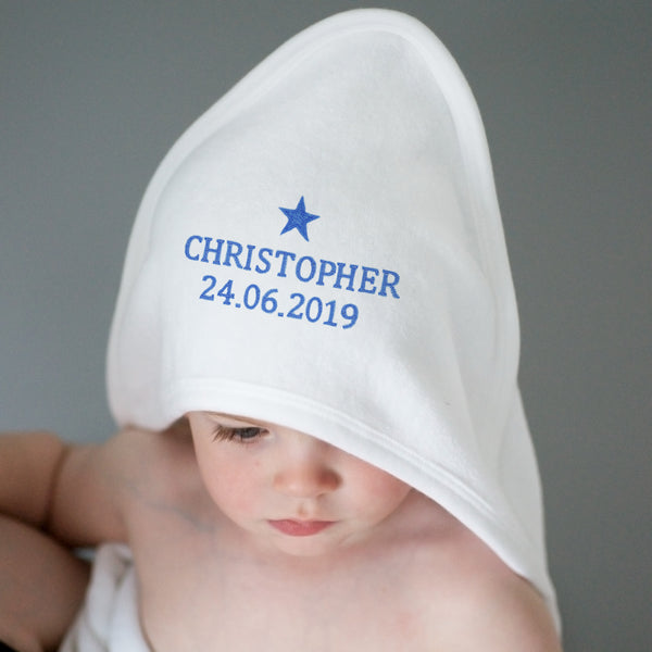 Personalised Blue Star White Hooded Baby Towel from Sassy Bloom Gifts - alternative view