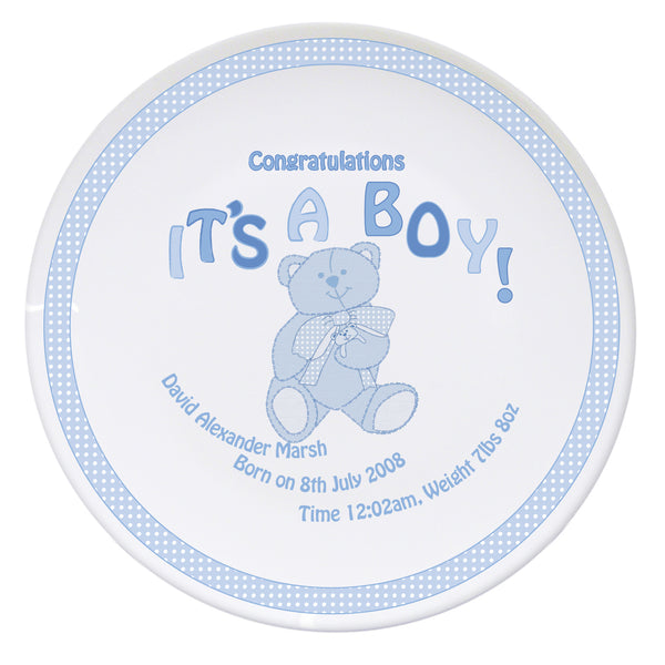 Personalised Teddy It's a Boy Plate