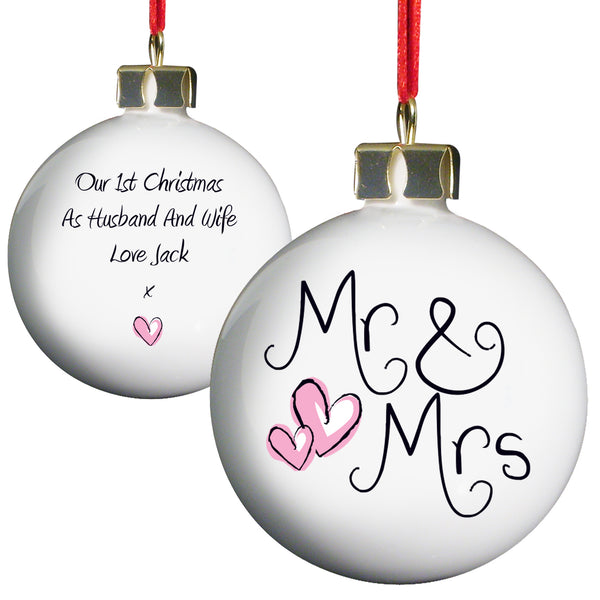 Personalised Mr & Mrs Bauble white background