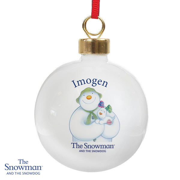 Personalised The Snowman and the Snowdog Bauble white background