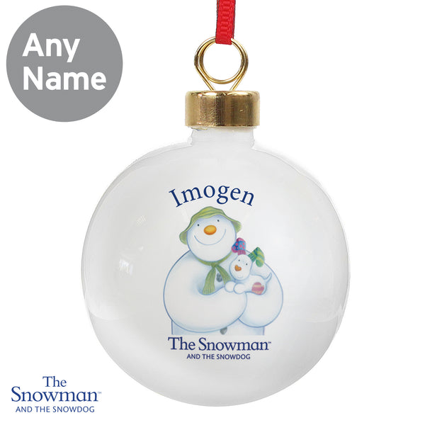 Personalised The Snowman and the Snowdog Bauble lifestyle image