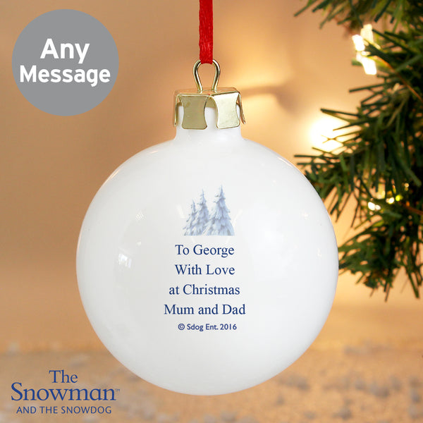 Personalised The Snowman and the Snowdog Bauble with personalised name