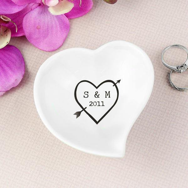 Personalised Wood Carving Ceramic Ring Dish white background
