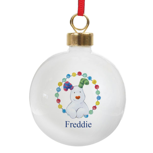 Personalised The Snowdog Bauble white background