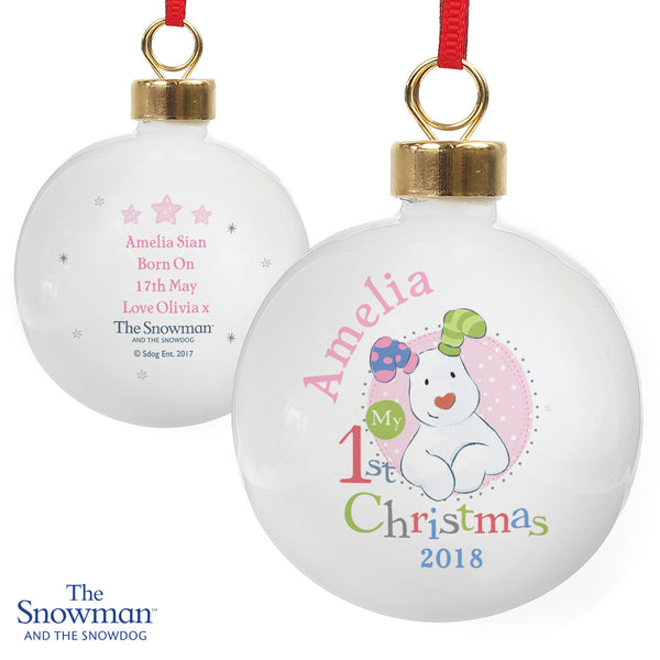 Personalised The Snowman and the Snowdog My 1st Christmas Pink Bauble white background